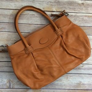 Handbags - Italian Leather Tan Bag Tote / Crossbody NWT HP🎉